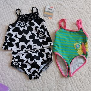 4/25Two set of  baby girl swimming suit 12m